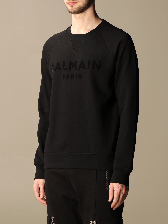 Sweatshirt Balmain: Balmain crewneck sweatshirt in cotton with flocked logo black 4