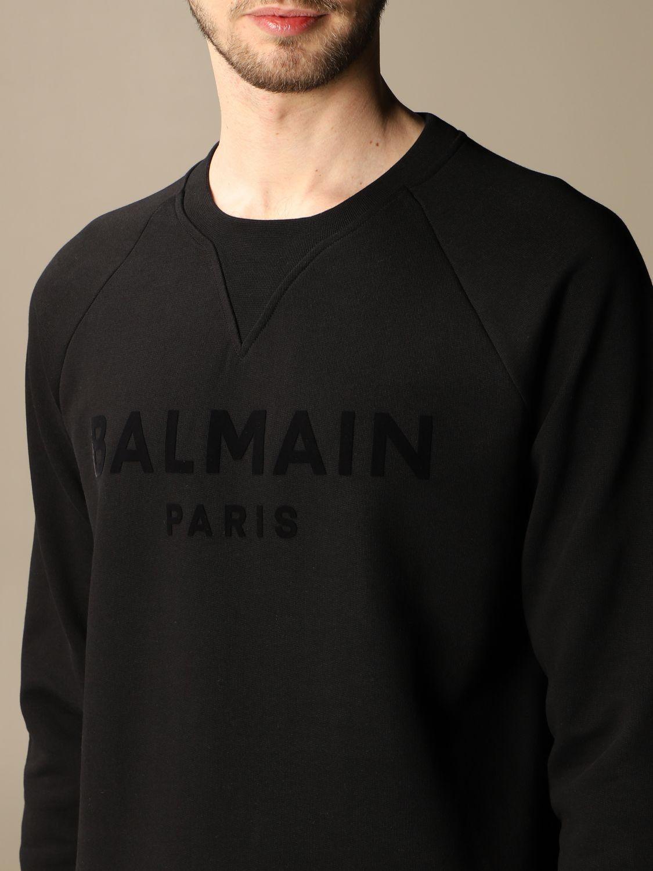 Sweatshirt Balmain: Balmain crewneck sweatshirt in cotton with flocked logo black 5