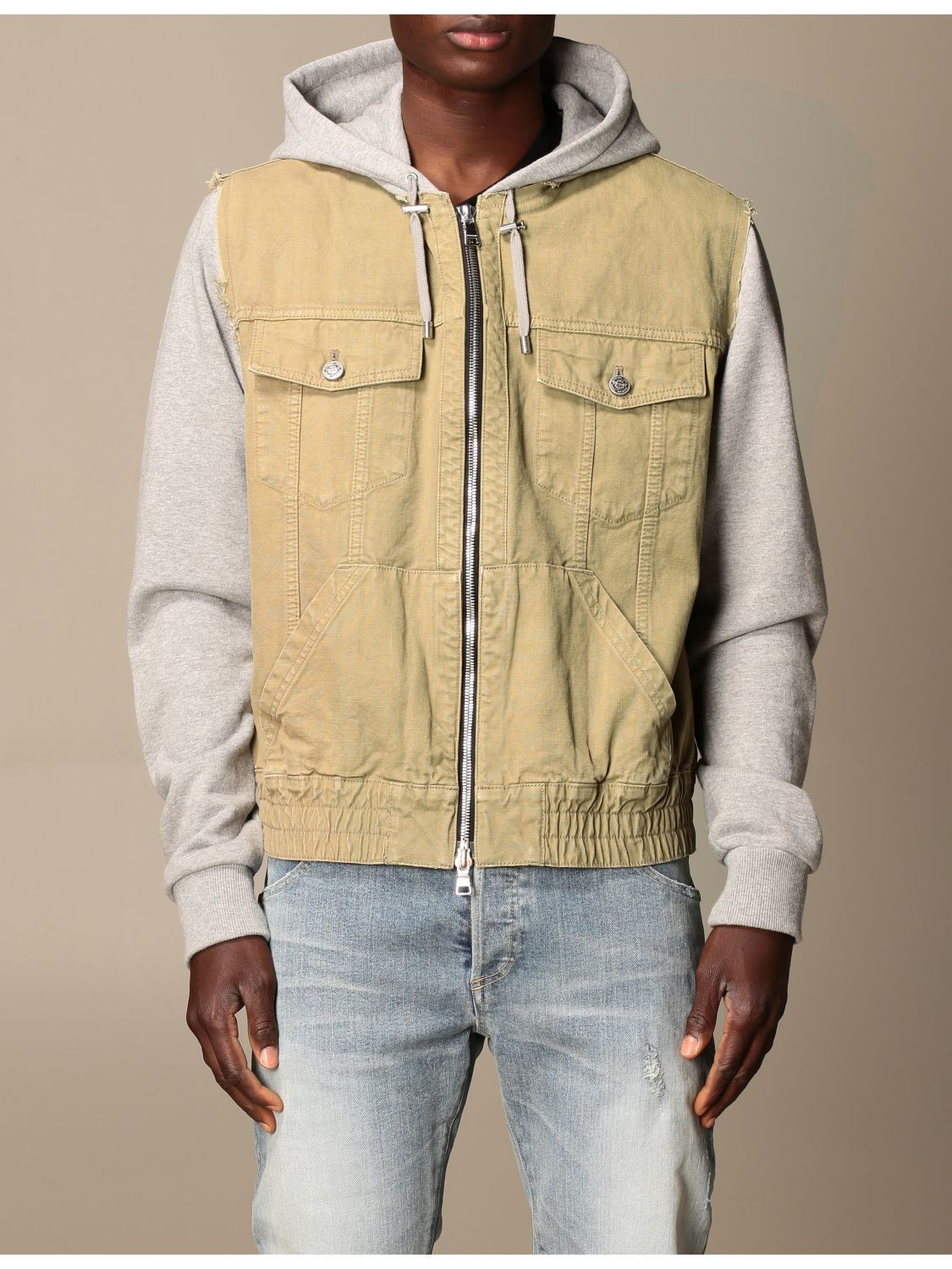 Jacket Balmain: Balmain bomber jacket in cotton with hood beige 1