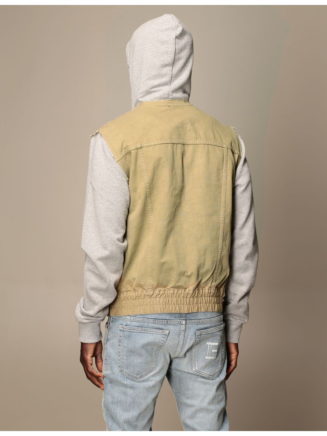 Jacket Balmain: Balmain bomber jacket in cotton with hood beige 3