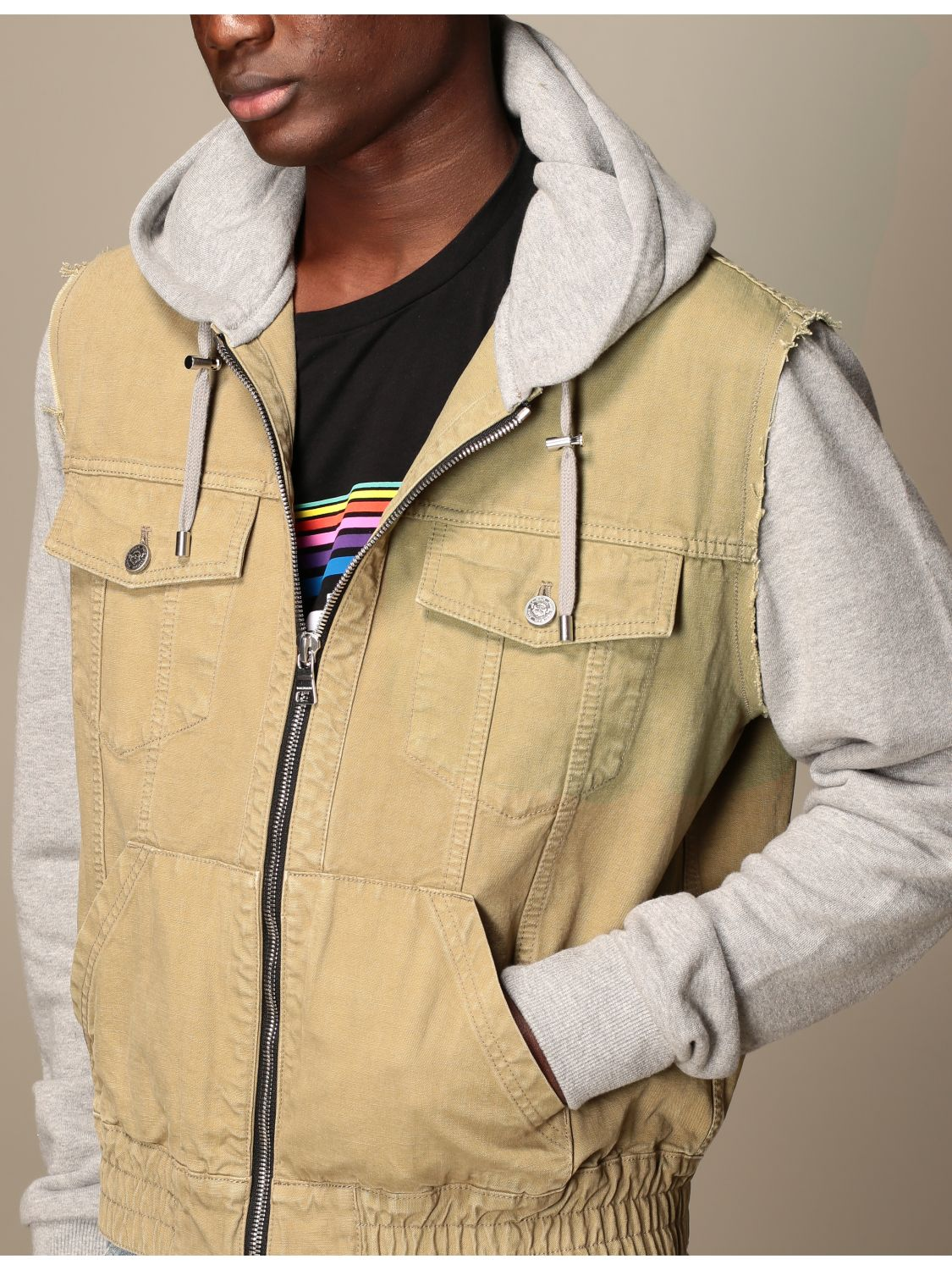 Jacket Balmain: Balmain bomber jacket in cotton with hood beige 5