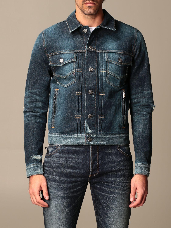 Jacket Balmain: Balmain denim jacket with zip blue 1