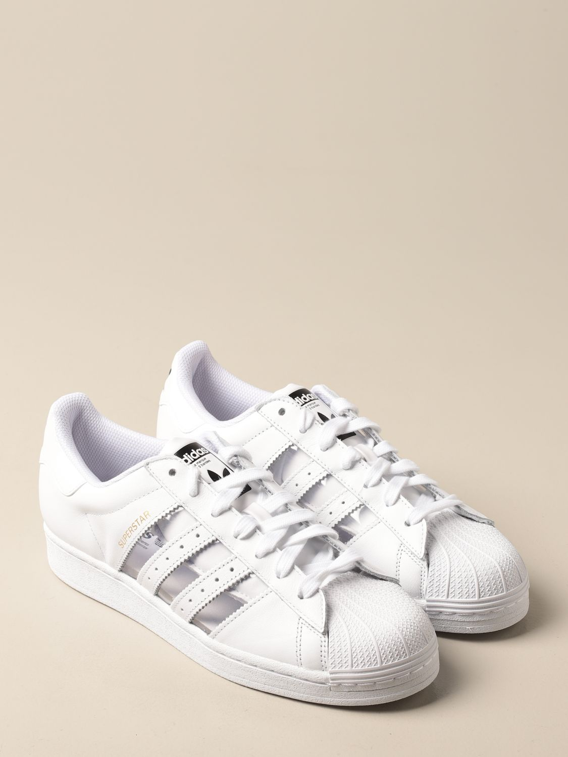 Trainers Adidas Originals: Adidas Originals Superstar sneakers in leather and pvc white 2