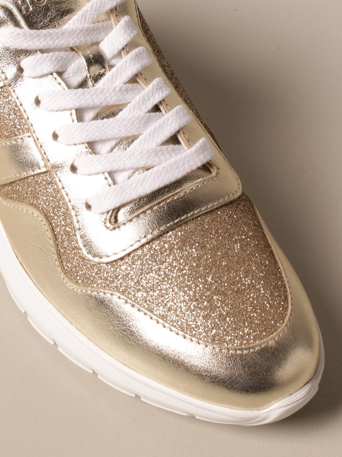 Interactive cube Hogan sneakers in laminated leather and glitter