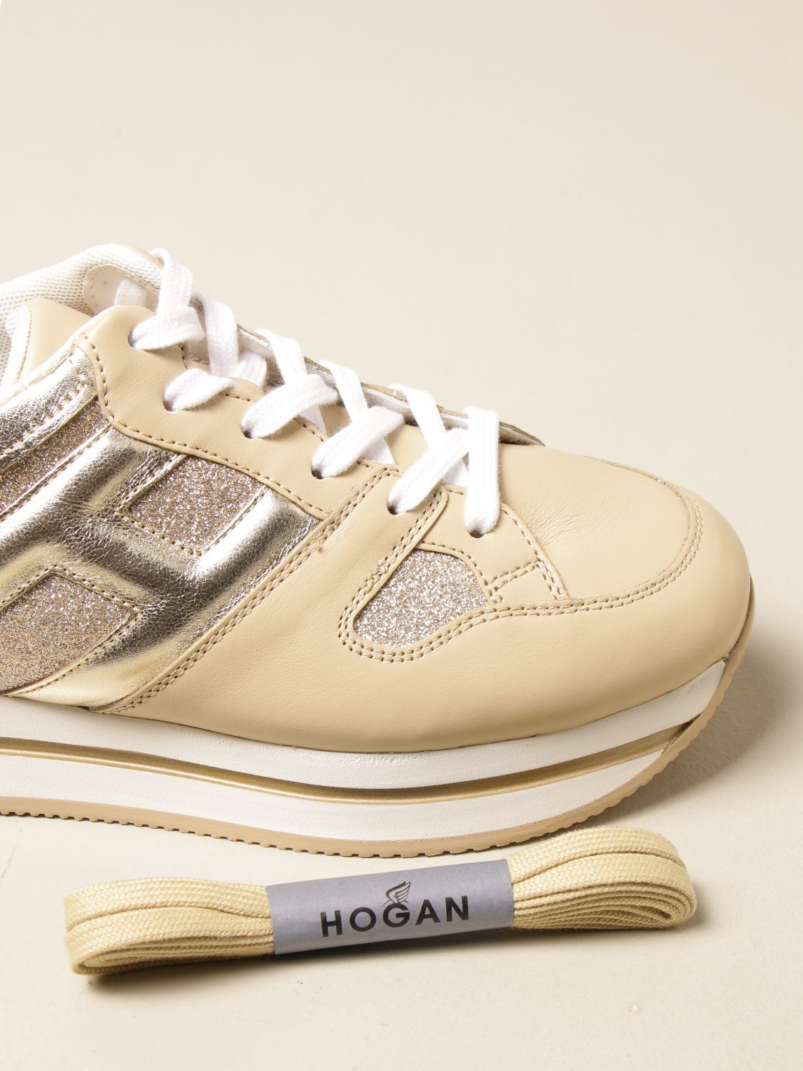 HOGAN: H222 platform sneakers in smooth and laminated leather ...