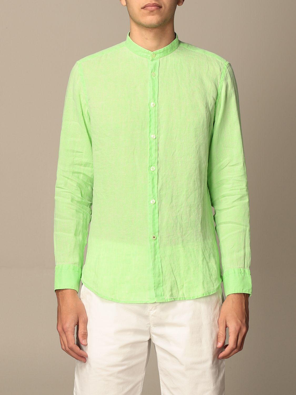 Shirt Baronio: Baronio shirt in linen with mandarin collar green 1
