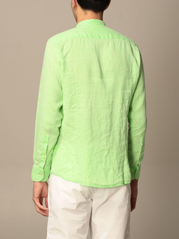 Shirt Baronio: Baronio shirt in linen with mandarin collar green 2