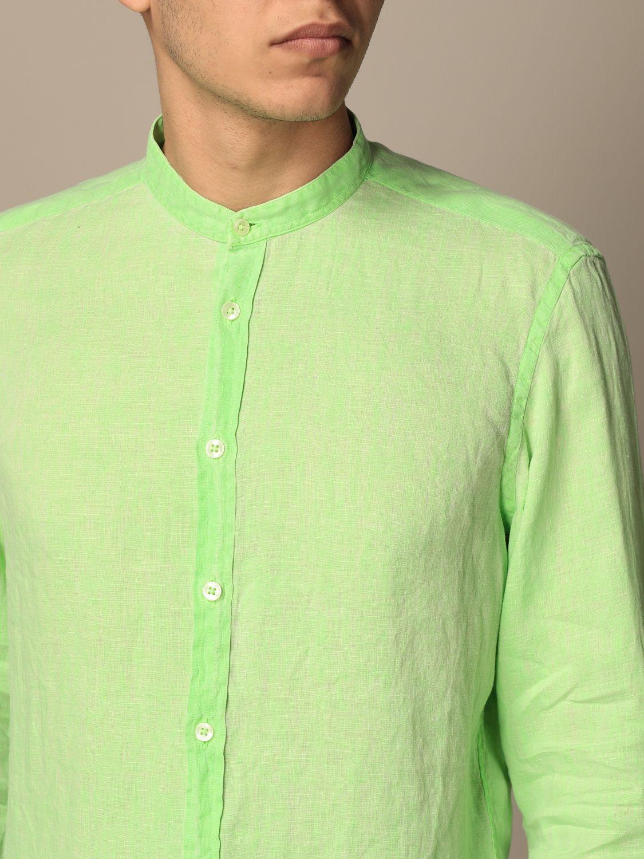 Shirt Baronio: Baronio shirt in linen with mandarin collar green 3