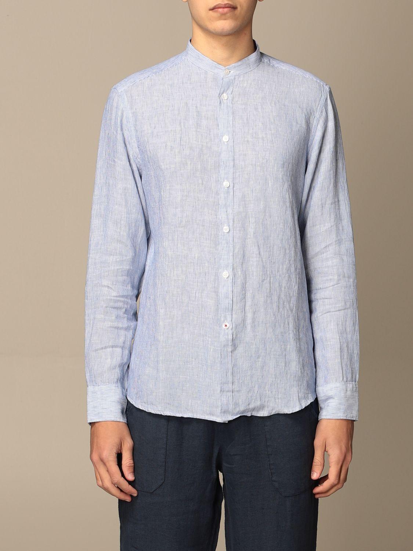 Camicia Baronio: Camicia alla coreana Baronio in lino bacchettato blue navy 1