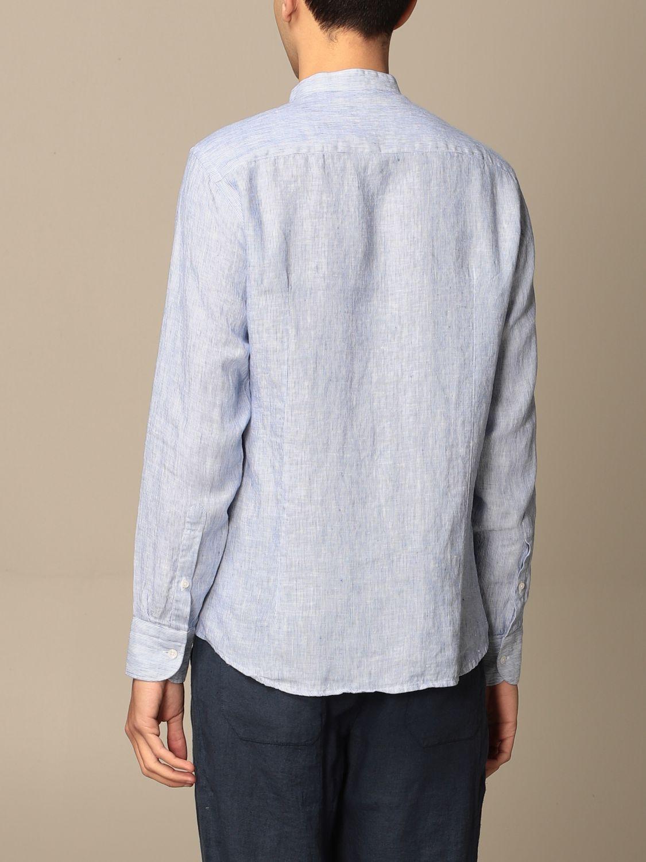 Camicia Baronio: Camicia alla coreana Baronio in lino bacchettato blue navy 2
