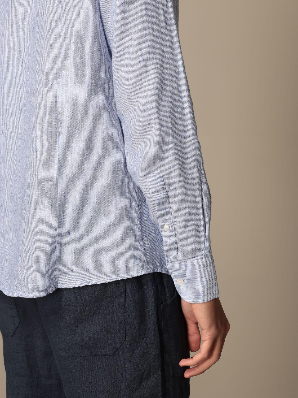 Camicia Baronio: Camicia alla coreana Baronio in lino bacchettato blue navy 3