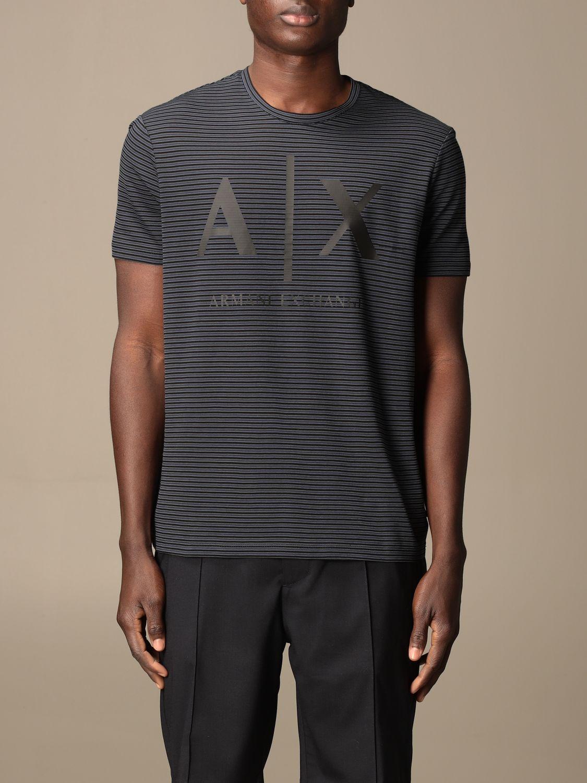 T-shirt Armani Exchange: Half sleeve crew neck lines with logo blue 1