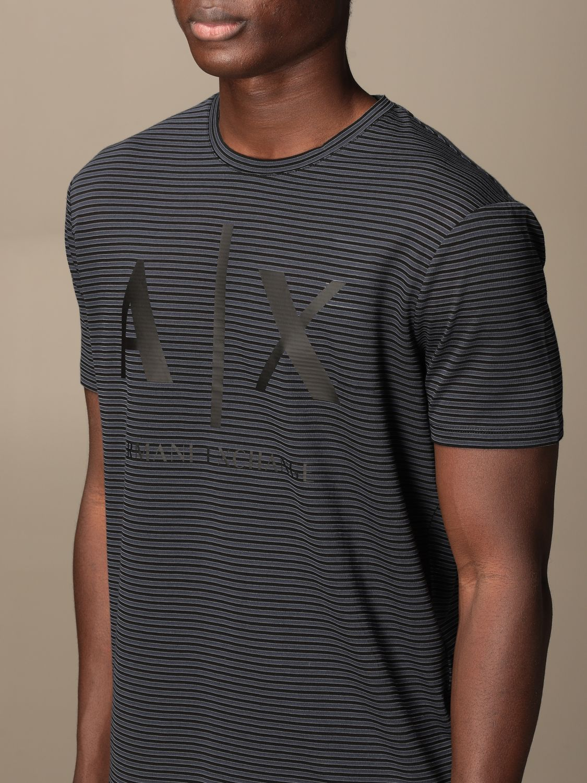 T-shirt Armani Exchange: Half sleeve crew neck lines with logo blue 3