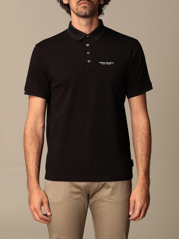 Polo Armani Exchange: Polo Armani Exchange in jersey con logo nero 1