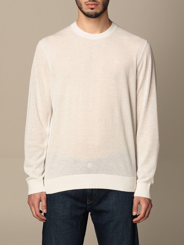 Maglia Armani Exchange: Maglia a girocollo Armani Exchange in cotone e lino bianco 1