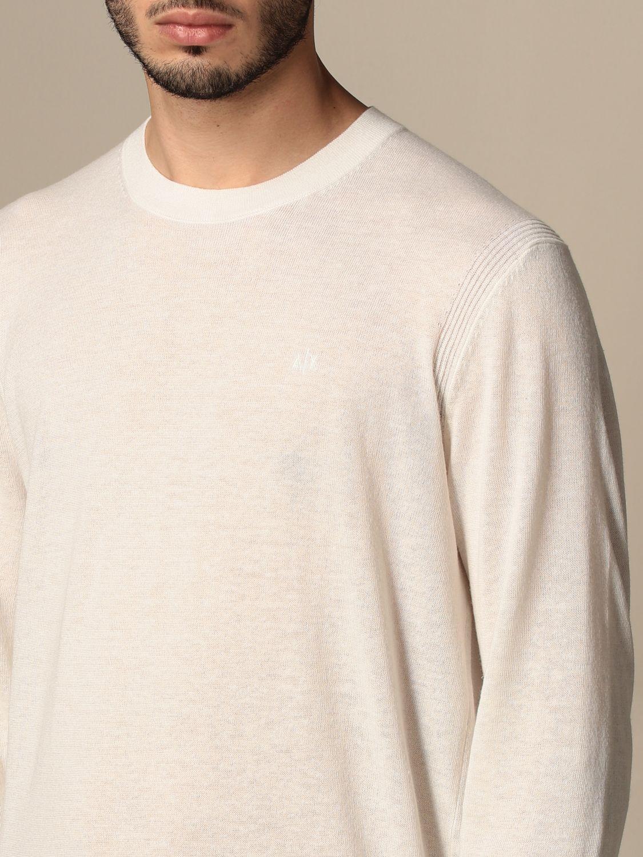Maglia Armani Exchange: Maglia a girocollo Armani Exchange in cotone e lino bianco 3