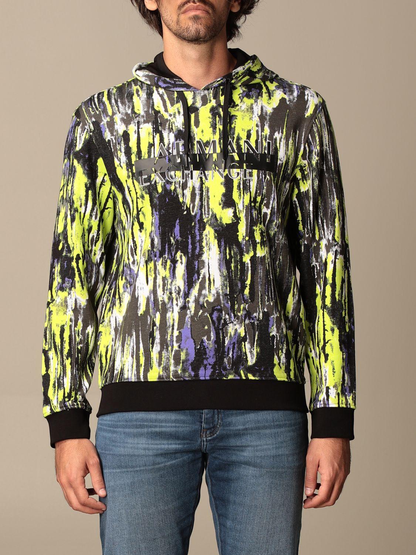 Sweatshirt Armani Exchange: Armani Exchange hoodie in printed cotton lime 1