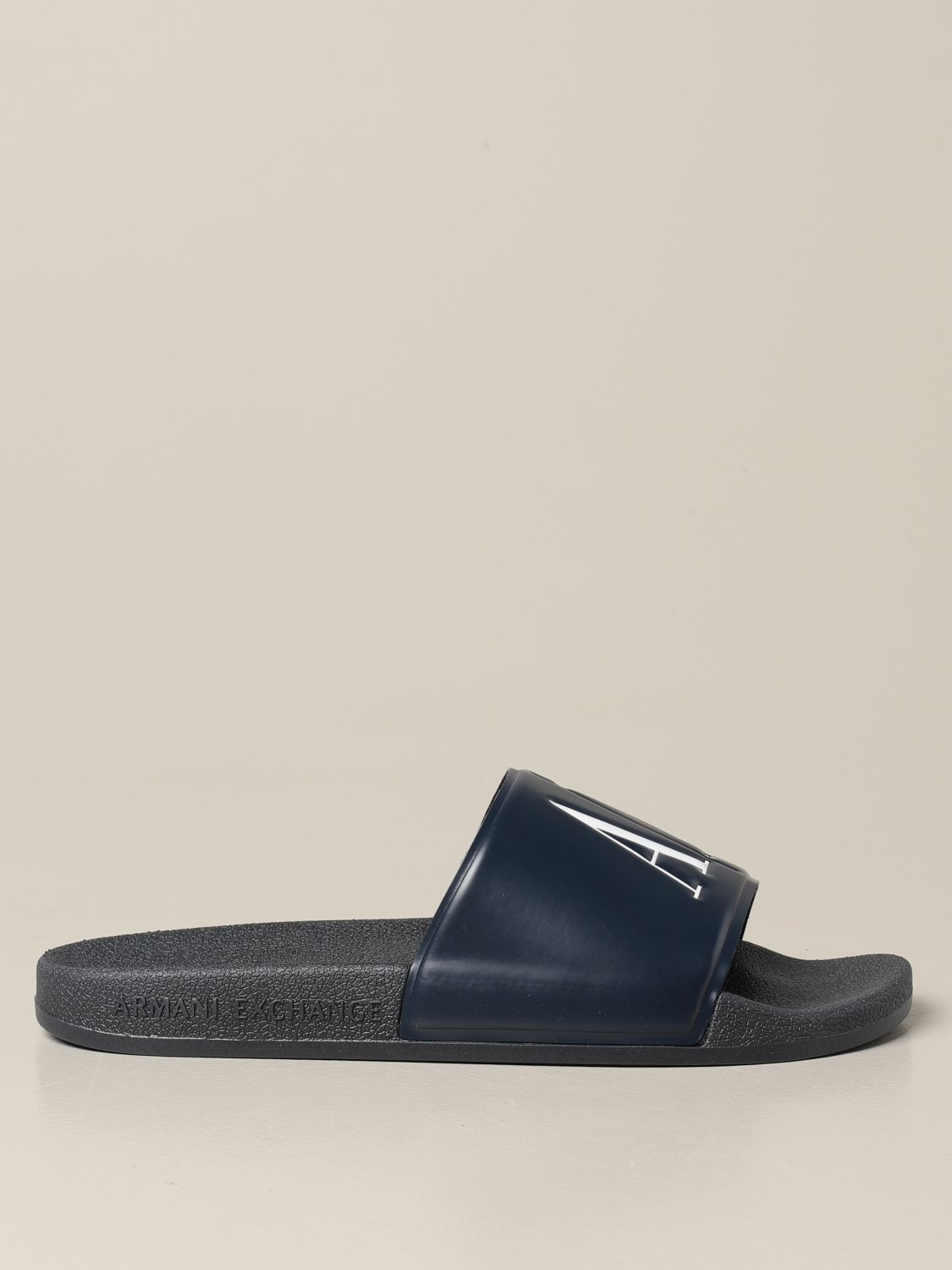 Sandals Armani Exchange: Armani Exchange slipper sandals in rubber with logo blue 1