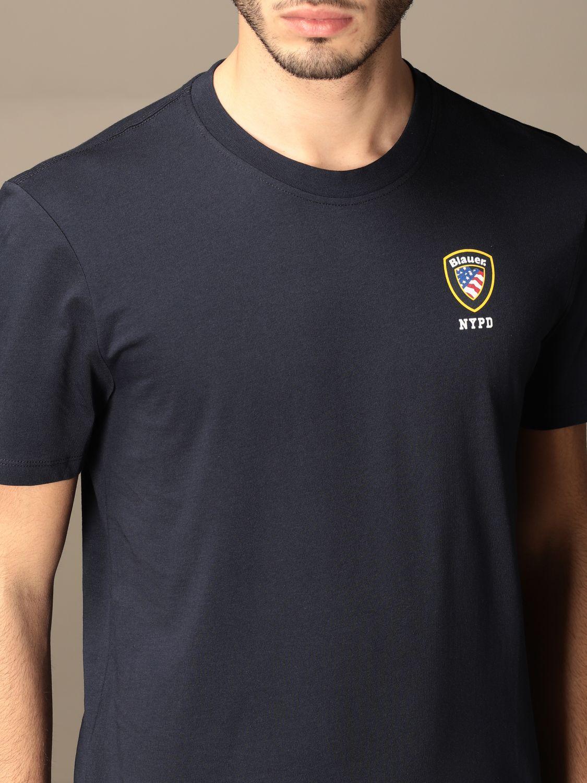 T-shirt Blauer: T-shirt Blauer in cotone basic con logo blue 3