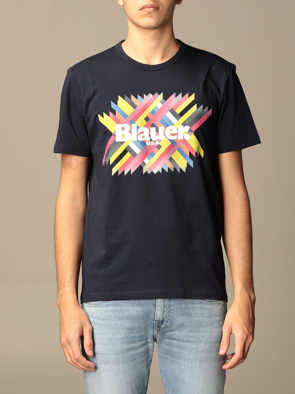 T-shirt Blauer: Blauer cotton T-shirt with logo print blue 1