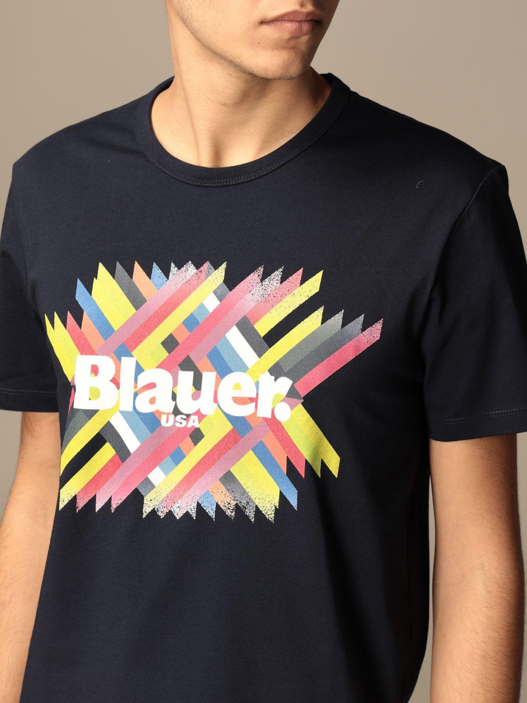 T-shirt Blauer: Blauer cotton T-shirt with logo print blue 3