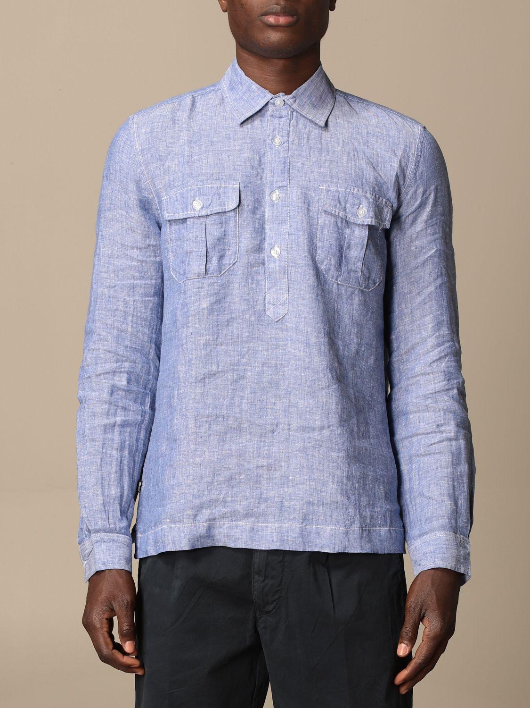Shirt Blauer: Blauer linen polo shirt gnawed blue 1