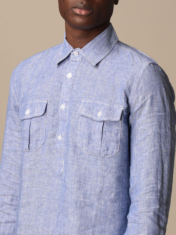 Shirt Blauer: Blauer linen polo shirt gnawed blue 3