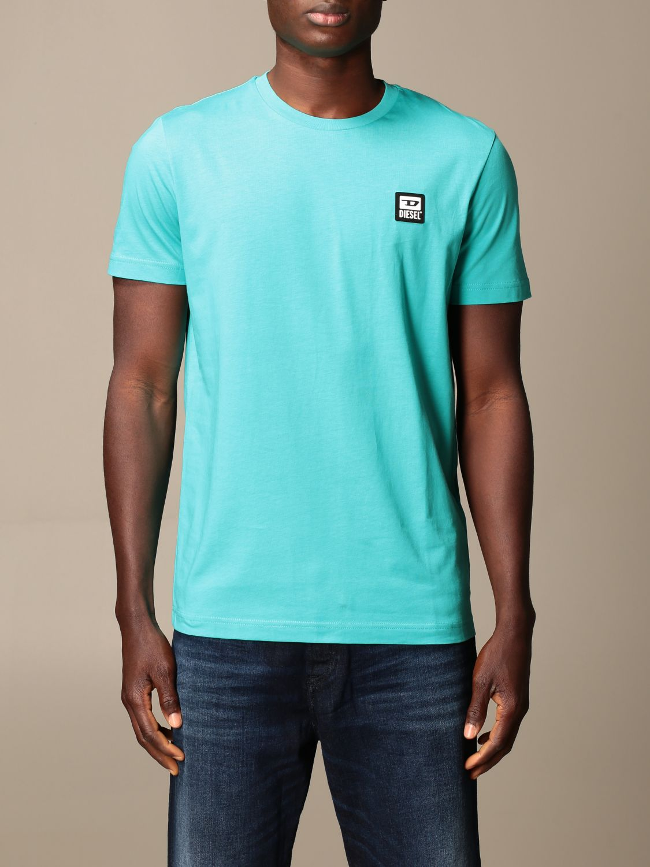 T-shirt Diesel: Diesel cotton t-shirt with logo gnawed blue 1