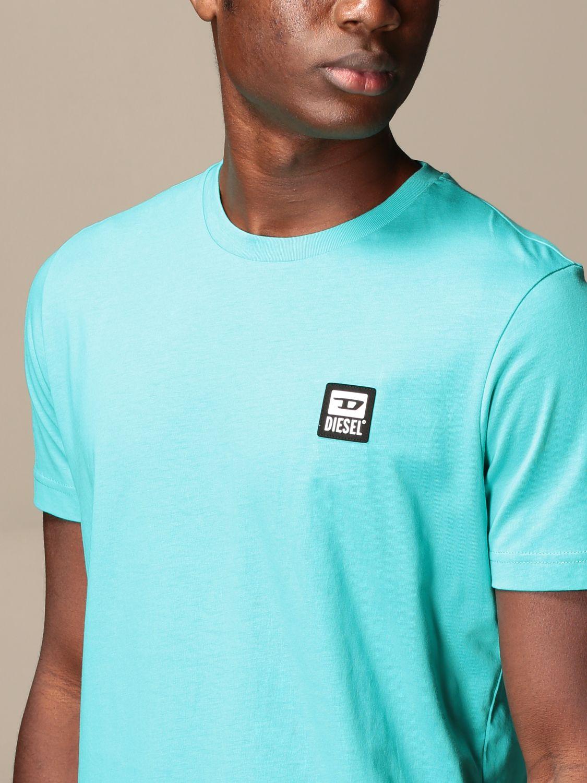 T-shirt Diesel: Diesel cotton t-shirt with logo gnawed blue 3