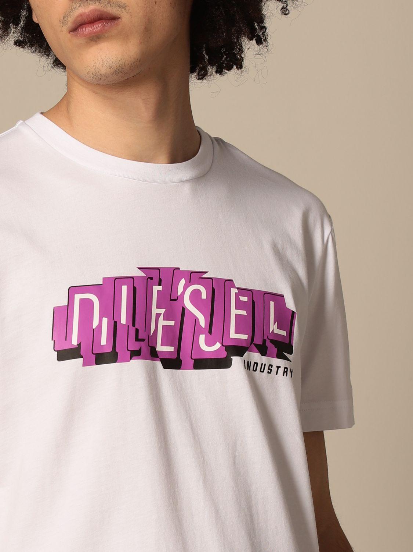 T-shirt Diesel: Diesel cotton t-shirt with logo print white 3