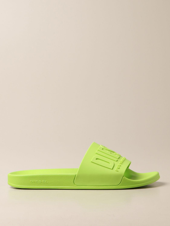 Sandali Diesel: Sandalo Slide Diesel in gomma lime 1