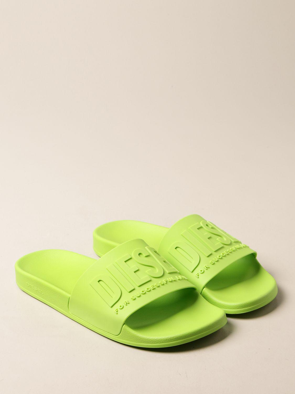 Sandali Diesel: Sandalo Slide Diesel in gomma lime 2