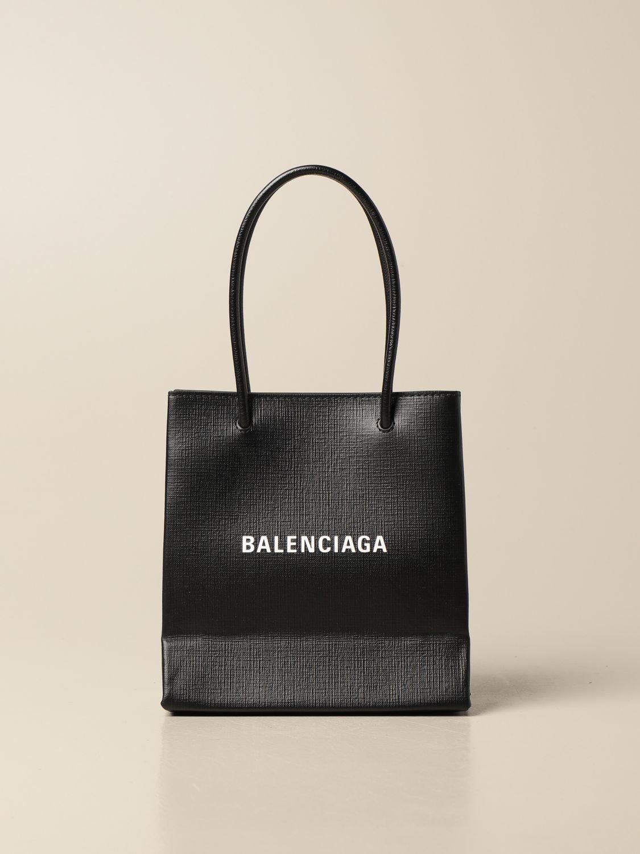 Mini bag Balenciaga: Balenciaga xxs shopping tote bag in leather with logo black 1