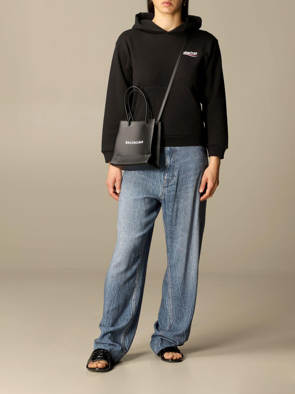 Mini bag Balenciaga: Balenciaga xxs shopping tote bag in leather with logo black 2