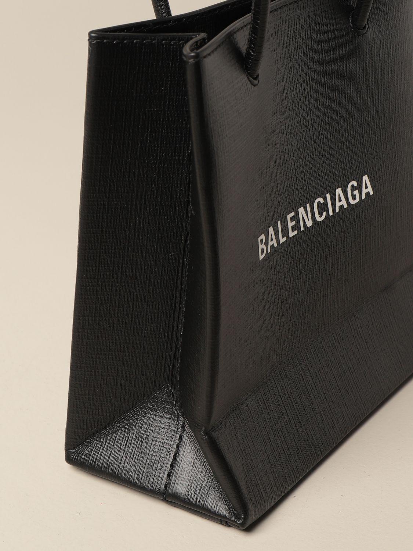 Mini bag Balenciaga: Balenciaga xxs shopping tote bag in leather with logo black 4