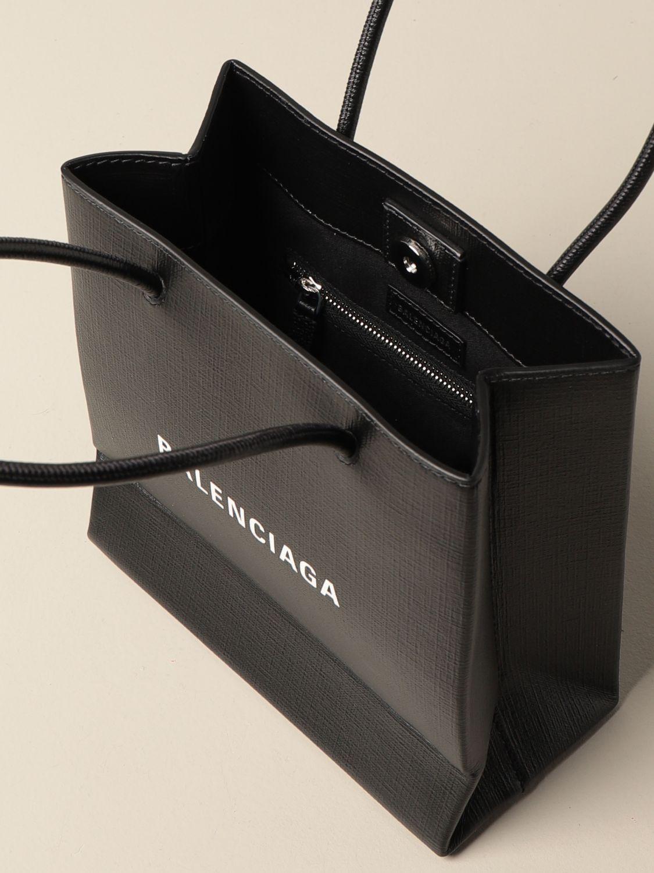 Mini bag Balenciaga: Balenciaga xxs shopping tote bag in leather with logo black 5