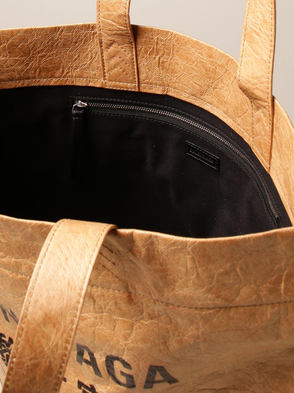 Bags Balenciaga: Balenciaga shopper bag in sustainable paper fabric sand 4