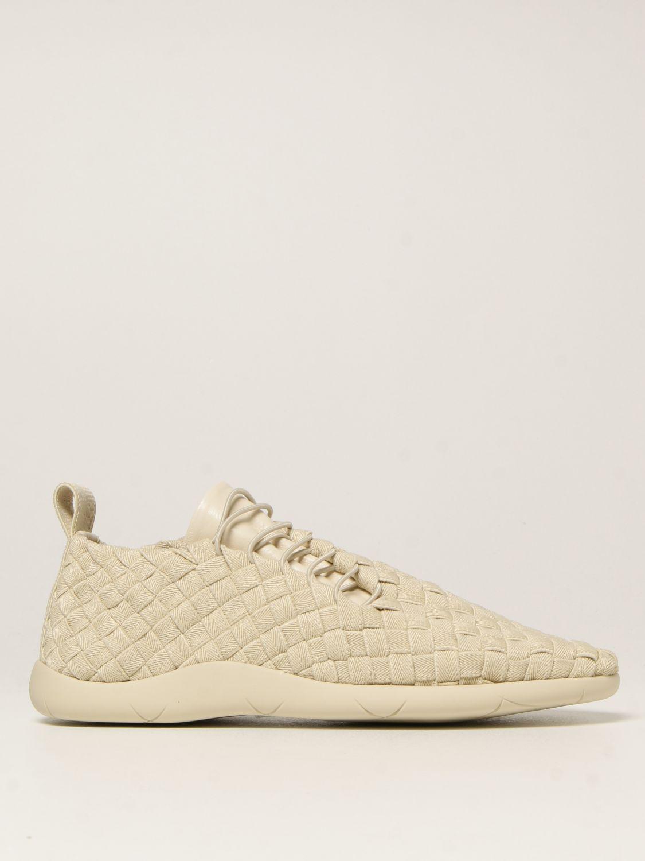 Sneakers Bottega Veneta: Sneakers Plat Bottega Veneta in tela intrecciata e pelle bianco 1