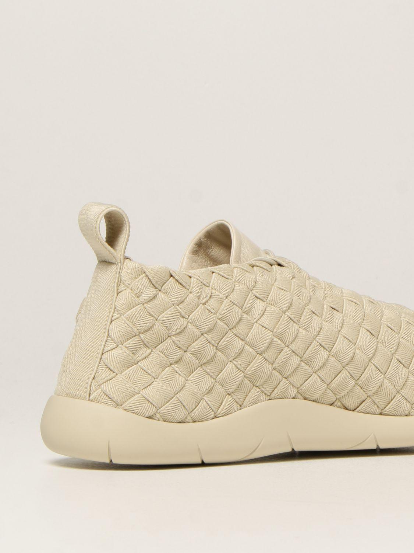 Sneakers Bottega Veneta: Sneakers Plat Bottega Veneta in tela intrecciata e pelle bianco 3