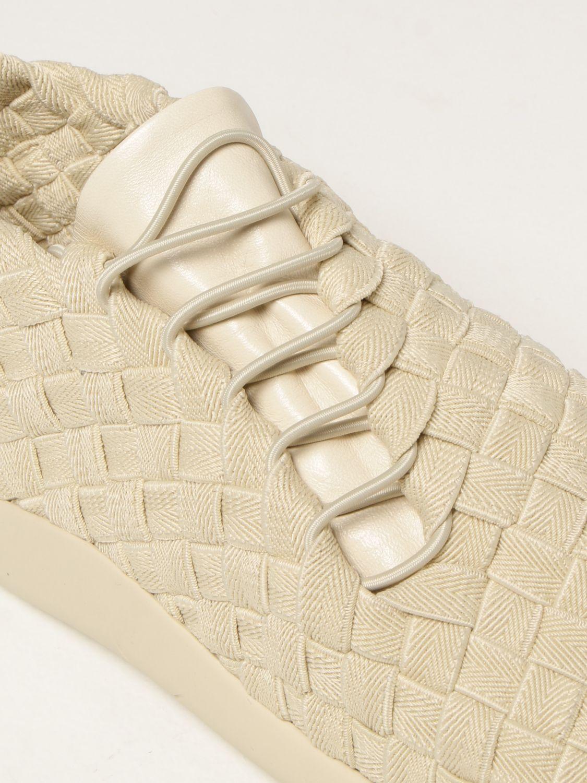Sneakers Bottega Veneta: Sneakers Plat Bottega Veneta in tela intrecciata e pelle bianco 4