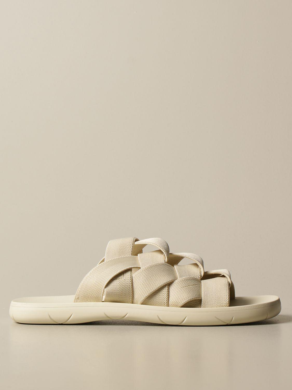 Sandali Bottega Veneta: Sandalo Bottega Veneta in tela e gomma stampata bianco 1