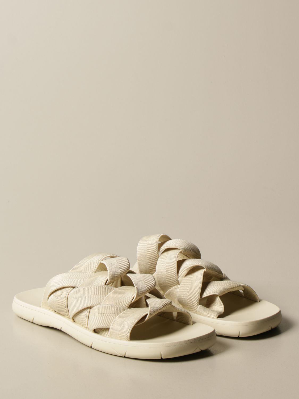 Sandali Bottega Veneta: Sandalo Bottega Veneta in tela e gomma stampata bianco 2