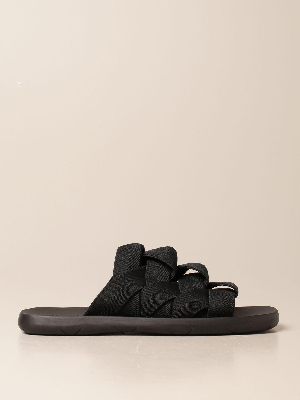 Sandals Bottega Veneta: Bottega Veneta sandal in canvas and printed rubber black 1