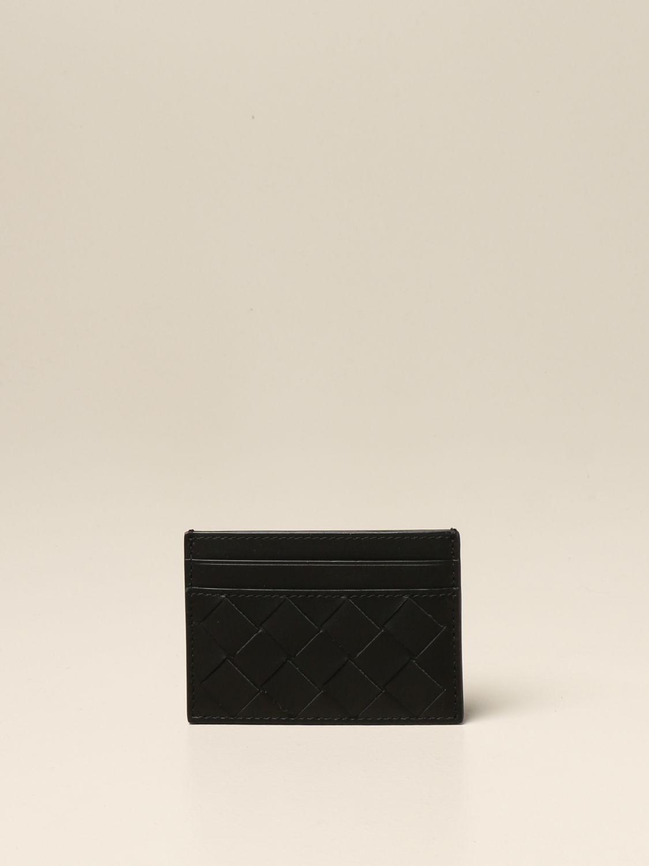 Wallet Bottega Veneta: Bottega Veneta credit card holder in woven leather 1.5 black 1