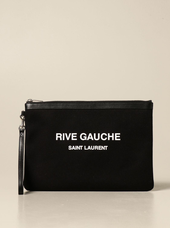 Portadocumenti Saint Laurent: Pochette Saint Laurent in tela con stampa Rive Gauche nero 1