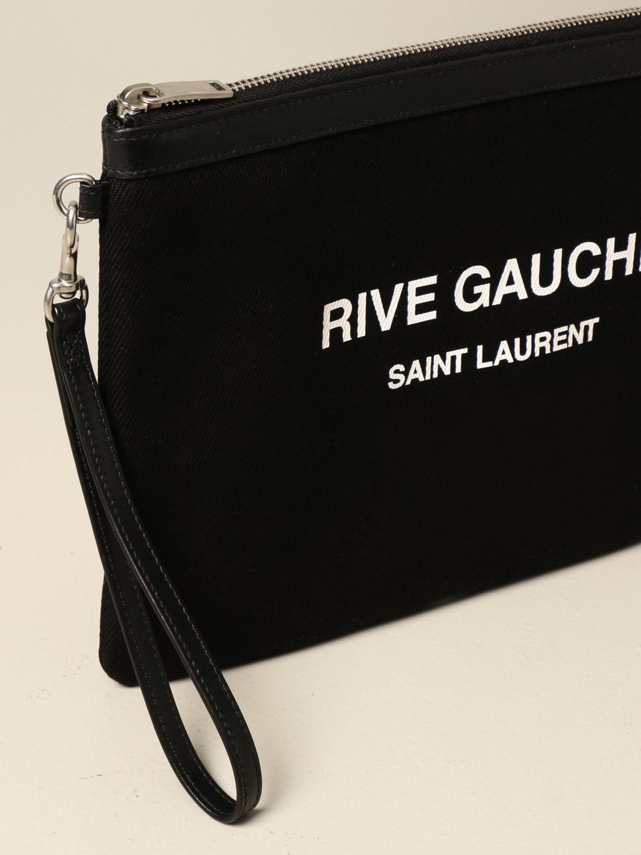 Portadocumenti Saint Laurent: Pochette Saint Laurent in tela con stampa Rive Gauche nero 4