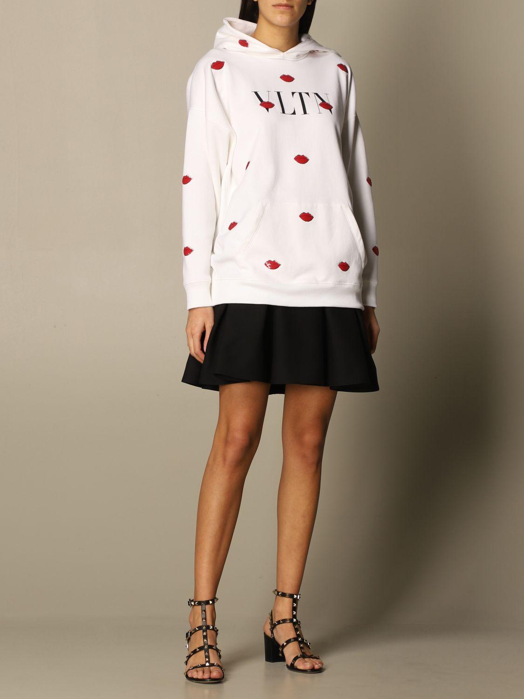 Felpa Valentino: Felpa con cappuccio Valentino in cotone con logo VLTN e bocche bianco 2