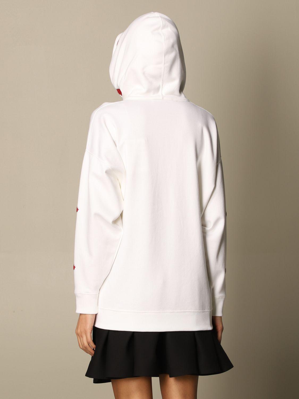 Felpa Valentino: Felpa con cappuccio Valentino in cotone con logo VLTN e bocche bianco 3