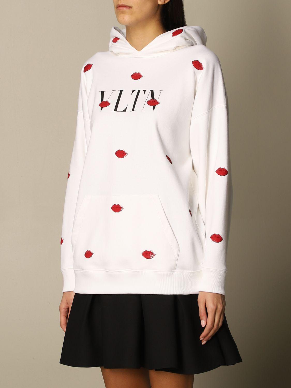 Felpa Valentino: Felpa con cappuccio Valentino in cotone con logo VLTN e bocche bianco 4