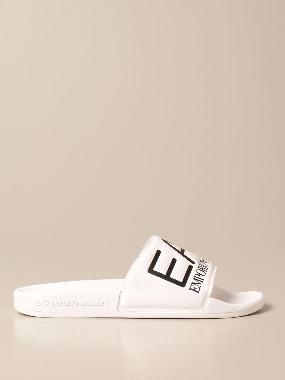 Sandals Ea7: EA7 rubber sandal with logo white 1